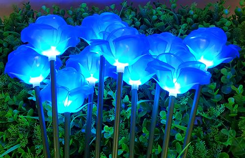 LED蓝色塘胶玫瑰花