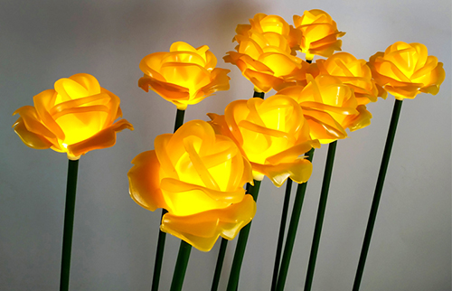 LED黄色塘胶玫瑰花灯