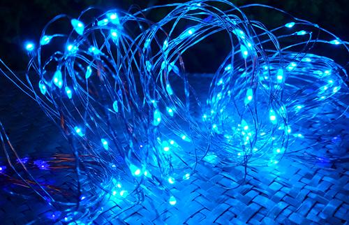 LED蓝色铜线灯串15米150灯