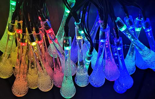 LED太阳能彩色水滴灯串