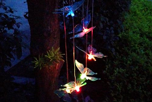 LED金色盖太阳能蓝色蝴蝶风铃灯