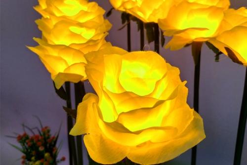 广东布绢玫瑰花灯不带叶子