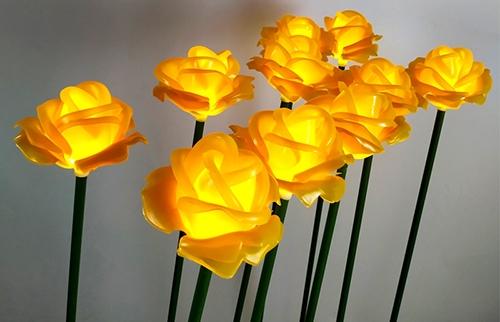 浙江LED黄色塘胶玫瑰花灯