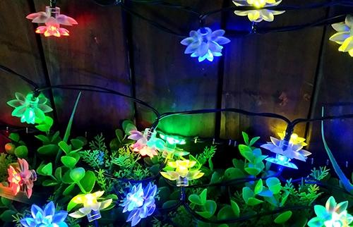 LED太阳能彩色荷花灯串