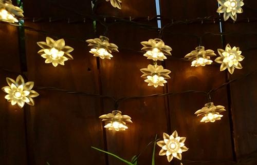 LED太阳能暖白荷花灯串
