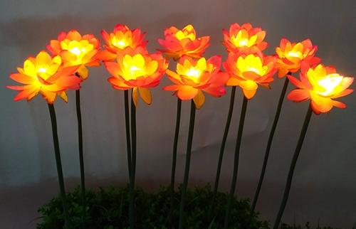 浙江LED插地粉色布绢荷花灯