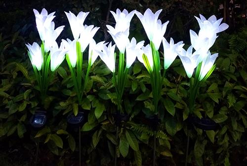LED太阳能白色白光百合花灯