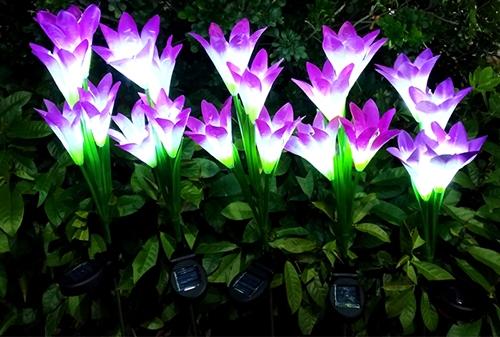 LED太阳能紫色白光百合花灯