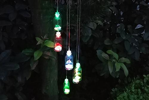 陕西LED太阳能许愿瓶风铃灯