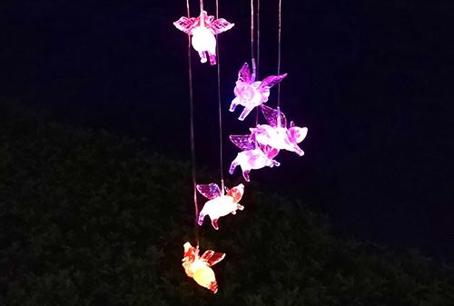 陕西LED太阳能飞猪风铃灯