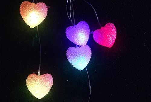 浙江LED太阳能爱心风铃灯