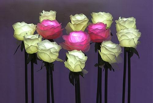 LED绢布玫瑰插地灯