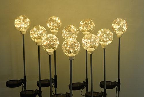 中山太阳能8CM铜线灯圆球